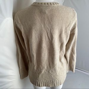 Express Sweaters - Express beige chenille v-neck sweater M